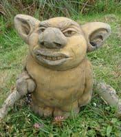 Troll giving the finger stone garden ornament